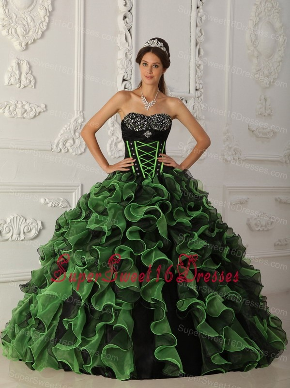 Sweet Green Sweet 16 Quinceanera Dress Sweetheart Organza Beading Ball Gown
