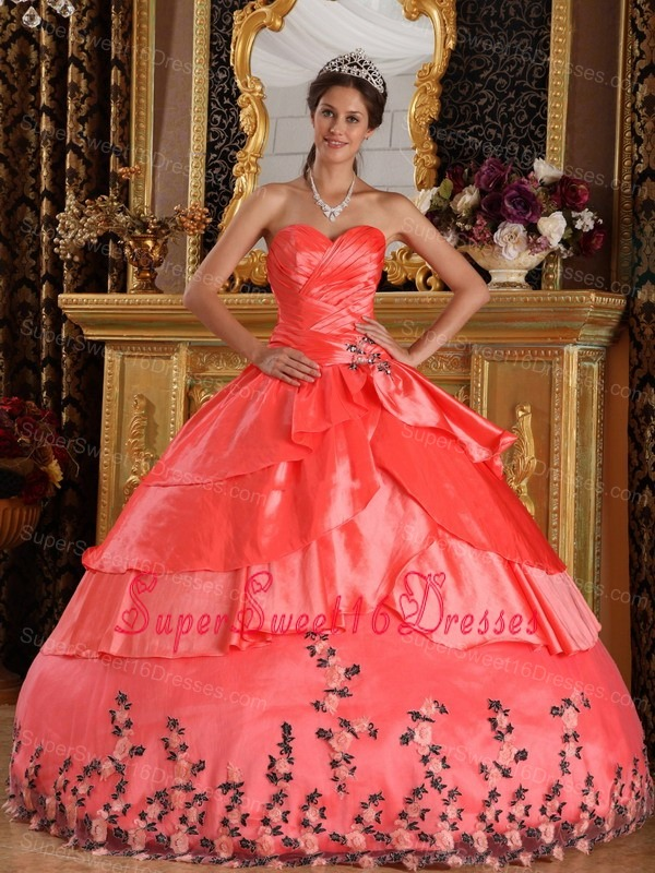 Affordable Watermelon Red Sweet 16 Dress Sweetheart Taffeta Appliques Ball Gown