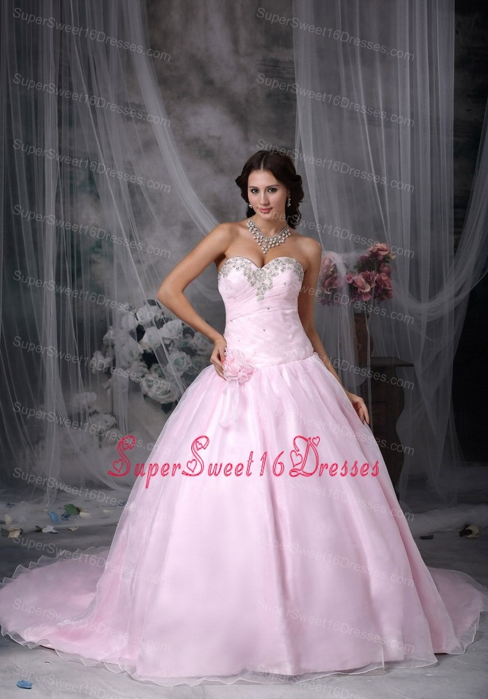 Baby Pink Hand Made Flowers and Ruched Beading Bodice Court Train Sweet 16