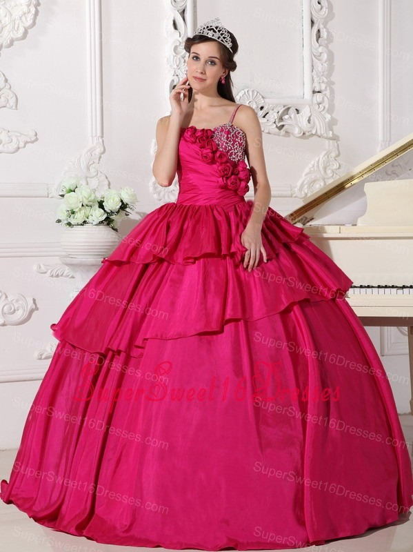 Gorgeous Hot Pink Sweet 16 Quinceanera Dress Straps Taffeta Beading Ball Gown