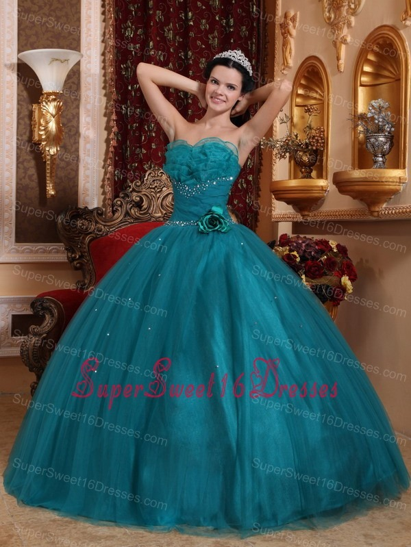 Pretty Teal Sweet 16 Quinceanera Dress Sweetheart Tulle Beading Ball Gown