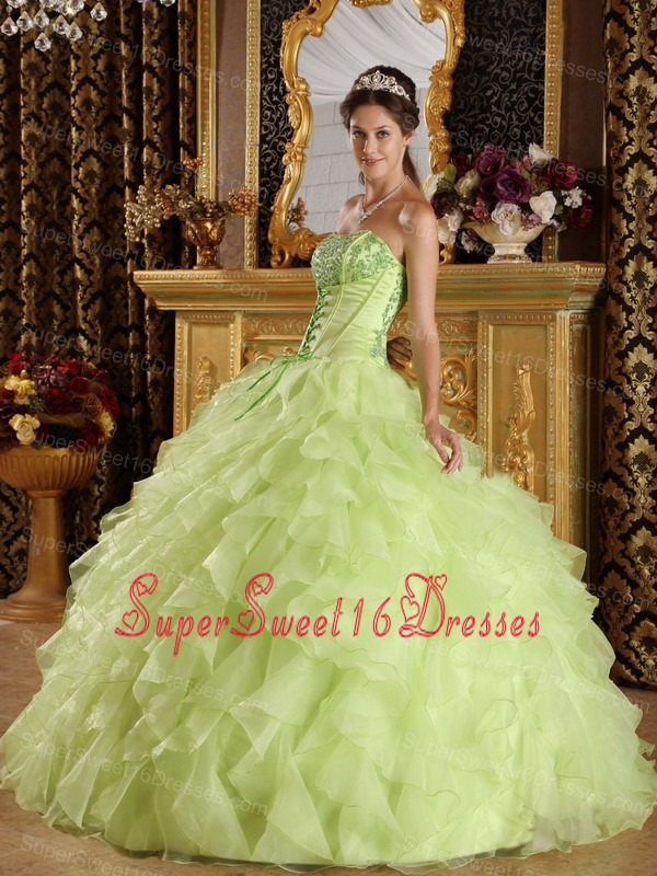 Beautiful Yellow Green Sweet 16 Dress Strapless Satin and Organza Embroidery with Beading Ball Gown