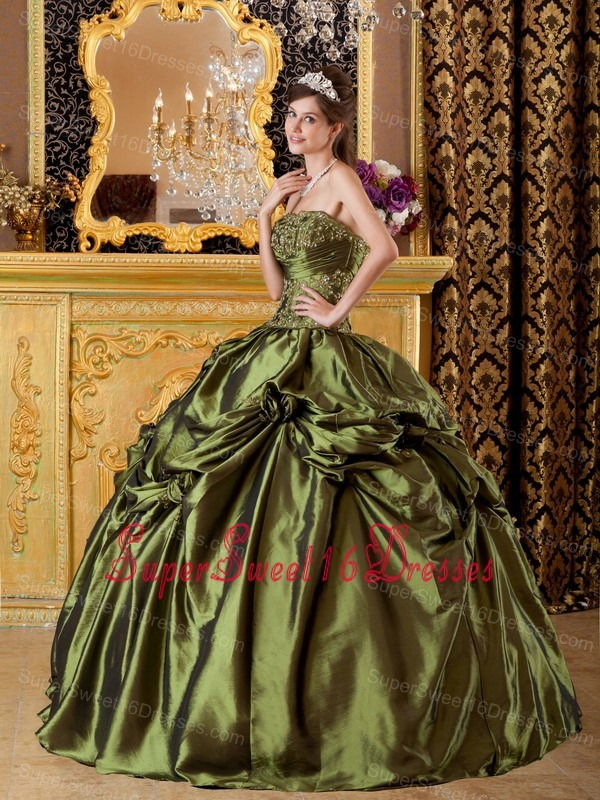 Brand New Olive Green Sweet 16 Dress StraplessTaffeta Appliques Ball Gown