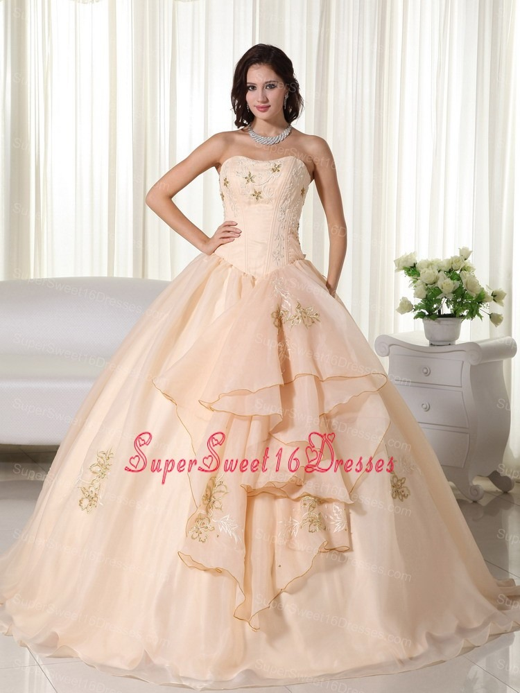 Champagne Ball Gown Strapless Floor-length Organza Embroidery Sweet 16 Dress