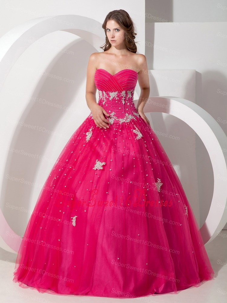 Pretty Hot Pink Sweetheart Sweet 16 Dress with Appliques and Beading