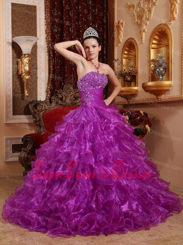 Pretty Purple Sweet 16 Quinceanera Dress Strapless Organza Beading Ball Gown
