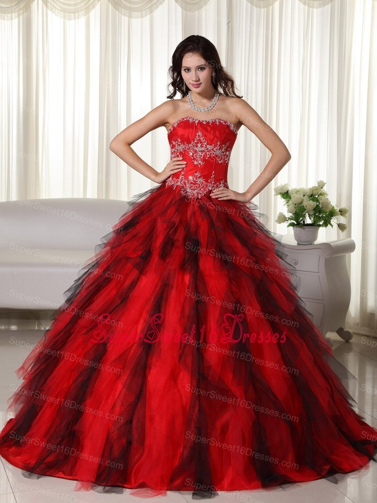 Red Ball Gown Strapless Floor-length Floor-length Taffeta Appliques Sweet 16 Dress