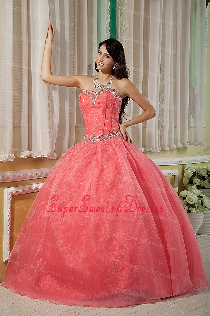 Sexy Watermelon Ball Gown 15 Sweet 16 Dress Sweetheart Organza Beading Floor-length