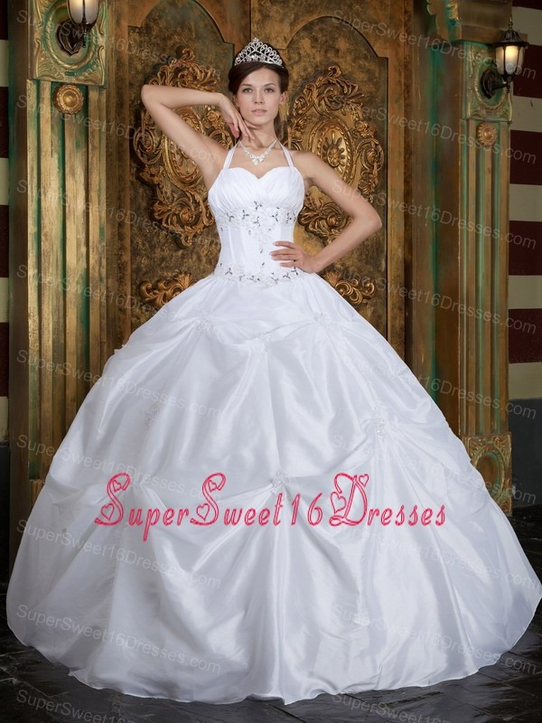 Vintage White Sweet 16 Dress Halter Taffeta Beading Ball Gown