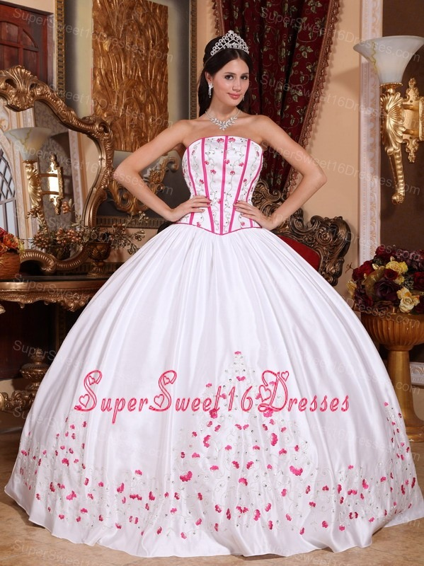 New White Sweet 16 Dress Strapless Taffeta Beading and Embroidery Ball Gown
