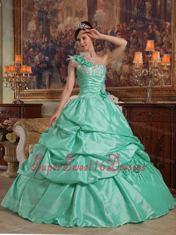 Brand New Apple Green Sweet 16 Dress One Shoulder Hand Flowers Taffeta Ball Gown