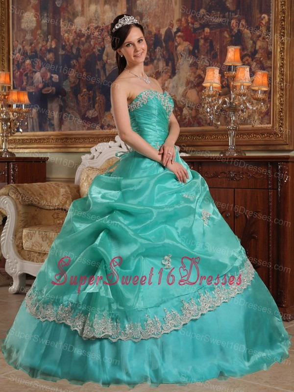Brand New Turquoise Sweet 16 Dress Sweetheart Appliques Organza Ball Gown