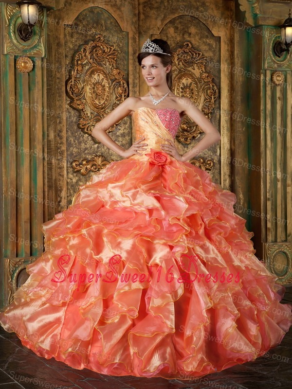 Cheap Orange Sweet 16 Quinceanera Dress Strapless Beading and Ruffles Ball Gown