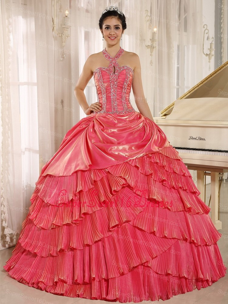 Halter Watermelon Red Pleat 2013 Sweet 16 Dress With Beaded Bodice In Tarija City