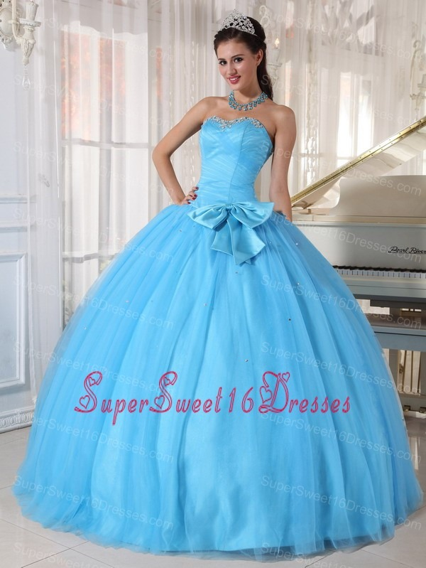 Informal Aqua Blue Sweet 16 Dress Sweetheart Tulle Beading and Bowknot Ball Gown