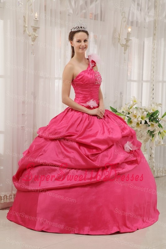 Modern Coral Red Sweet 16 Dress One Shoulder Taffeta Beading Pick-ups Ball Gown