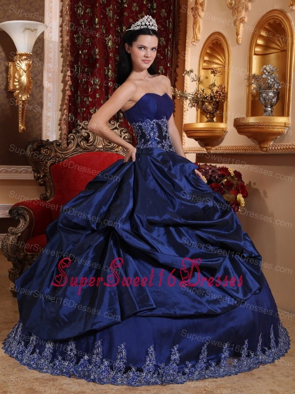 New Royal Blue Sweet 16 Dress Sweetheart Taffeta Appliques Ball Gown