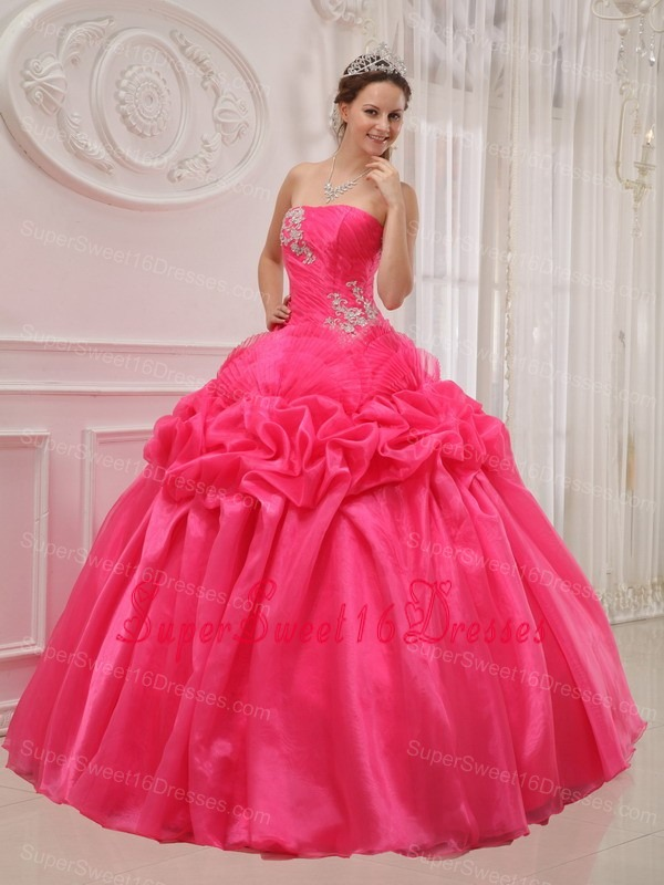 Popular Hot Pink Sweet 16 Dress Strapless Organza and Taffeta Ruch and Beading Ball Gown