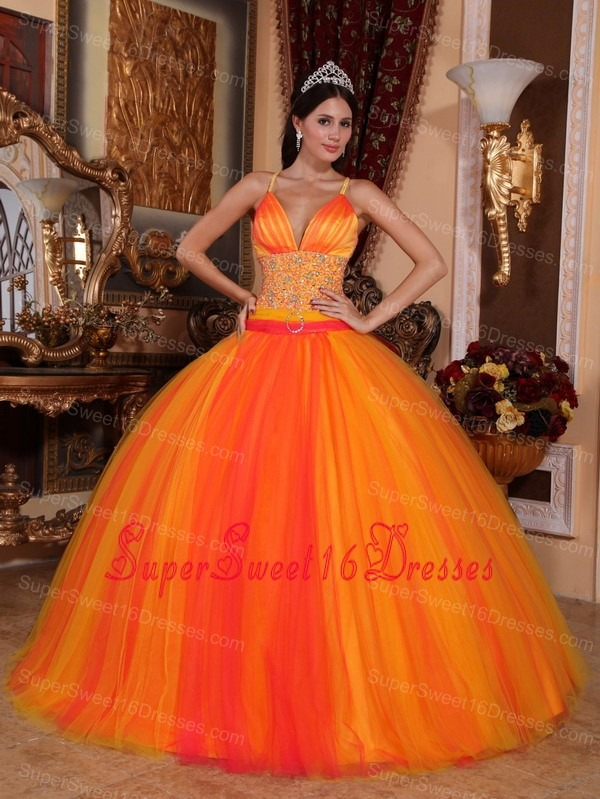 Gorgeous Orange Red Sweet 16 Dress V-neck Taffeta and Tulle Beading Ball Gown
