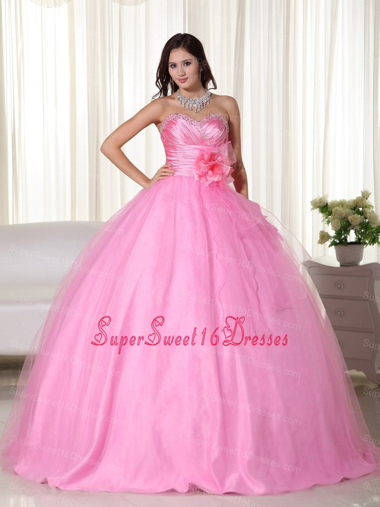 Pink Gown Sweetheart Floor-length Tulle Beading Sweet 16 Quinceanera Dress