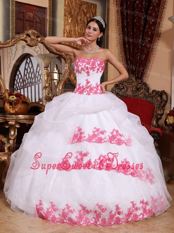Popular White Sweet 16 Quinceanera Dress Sweetheart Organza Appliques Ball Gown