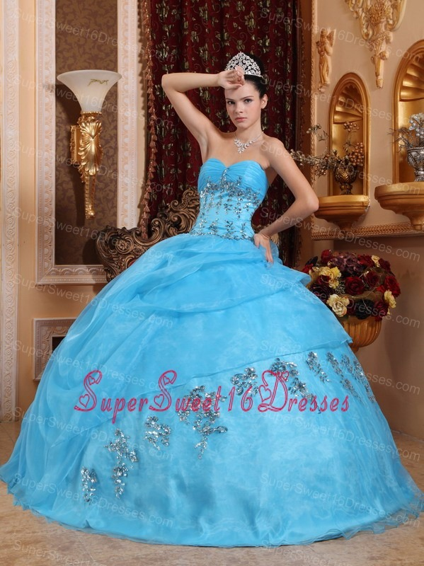 The Most Popular Aqua Blue Sweet 16 Dress Sweetheart Organza Beading Ball Gown