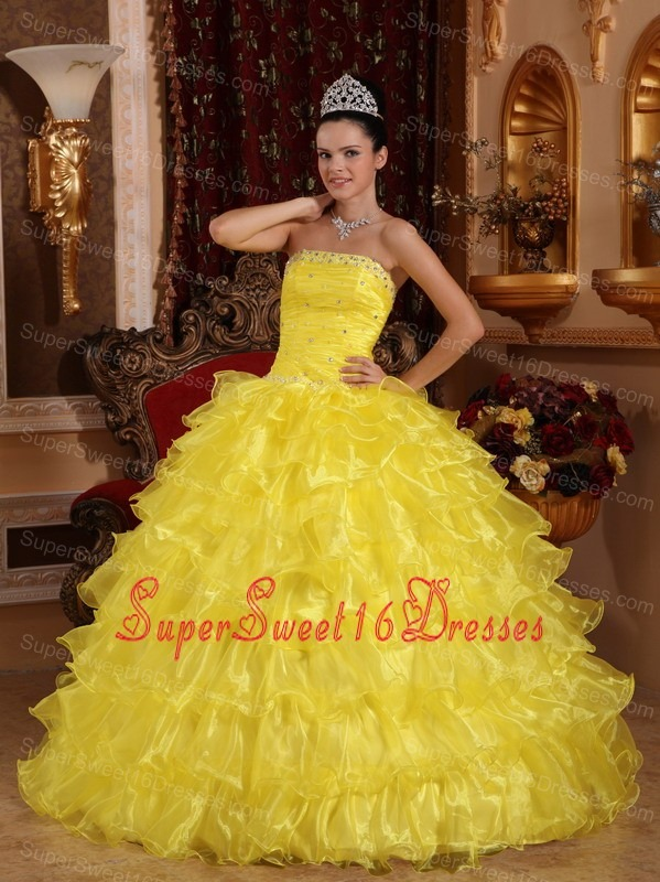 Exclusive Yellow Sweet 16 Quinceanera Dress Strapless Organza Beading Ball Gown