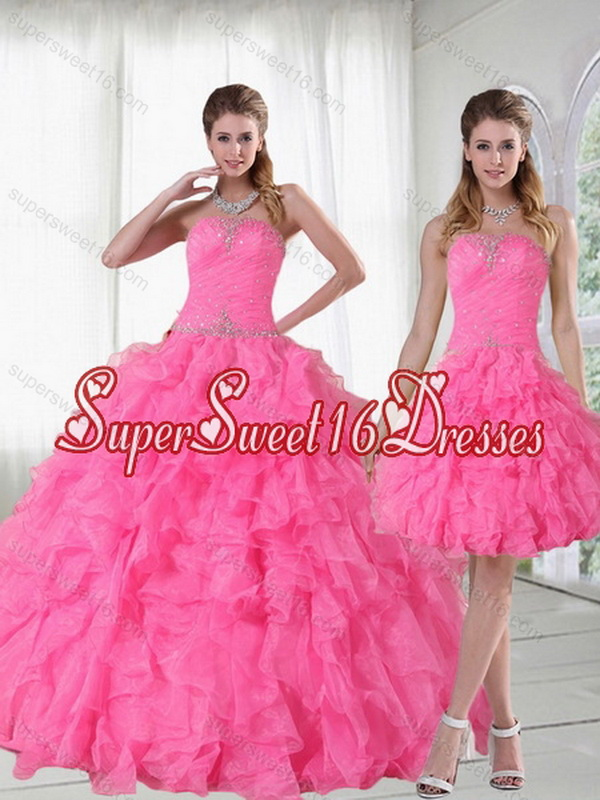 2015 Detachable Strapless Quinceanera Dress with Beading and Ruffles