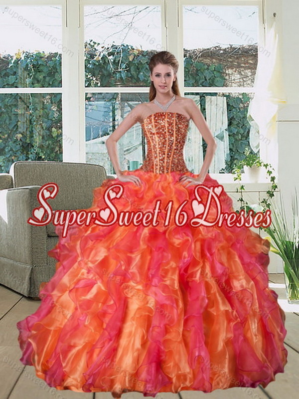 Modest 2015 Multi Color Strapless Quince Dress with Beading and Ruffles