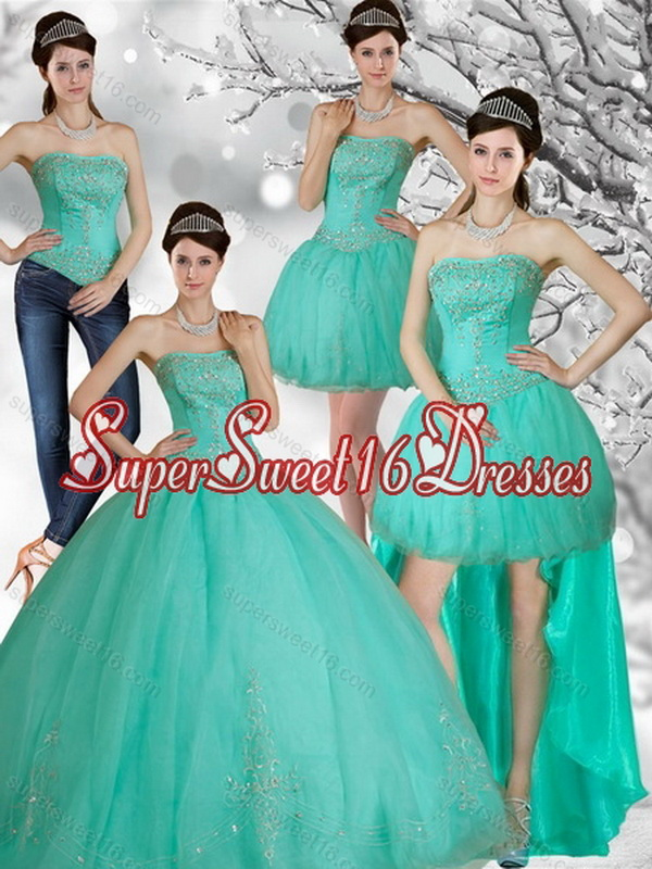 Detachable Appliques and Beading Strapless Sweet 15 Dress in Apple Green