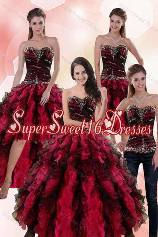Detachable Multi Color Dresses for Quince with Ruffles and Beading