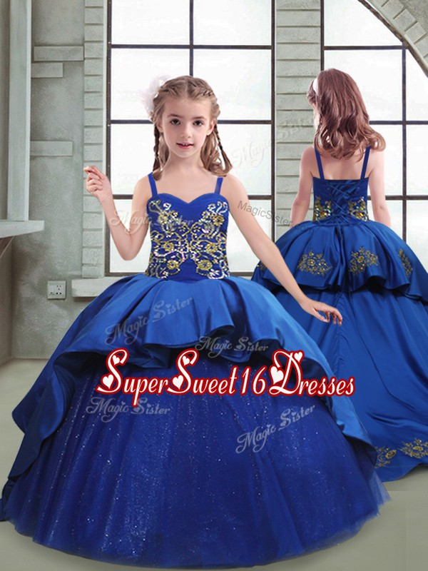 Royal Blue Spaghetti Straps Neckline Embroidery Kids Formal Wear Sleeveless Lace Up