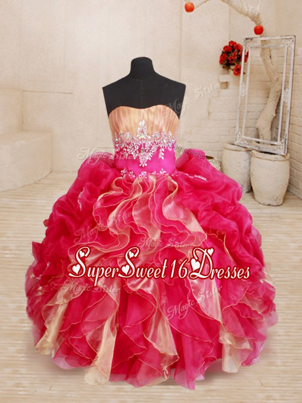 Ball Gowns Kids Pageant Dress Red Sweetheart Organza Sleeveless Floor Length Lace Up