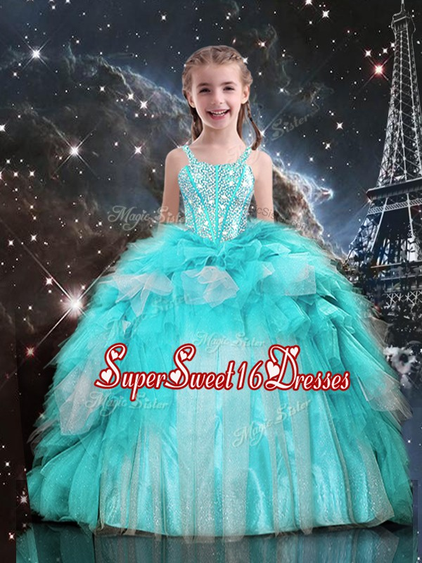 Best Sleeveless Floor Length Beading and Ruffles Lace Up Little Girl Pageant Dress with Aqua Blue