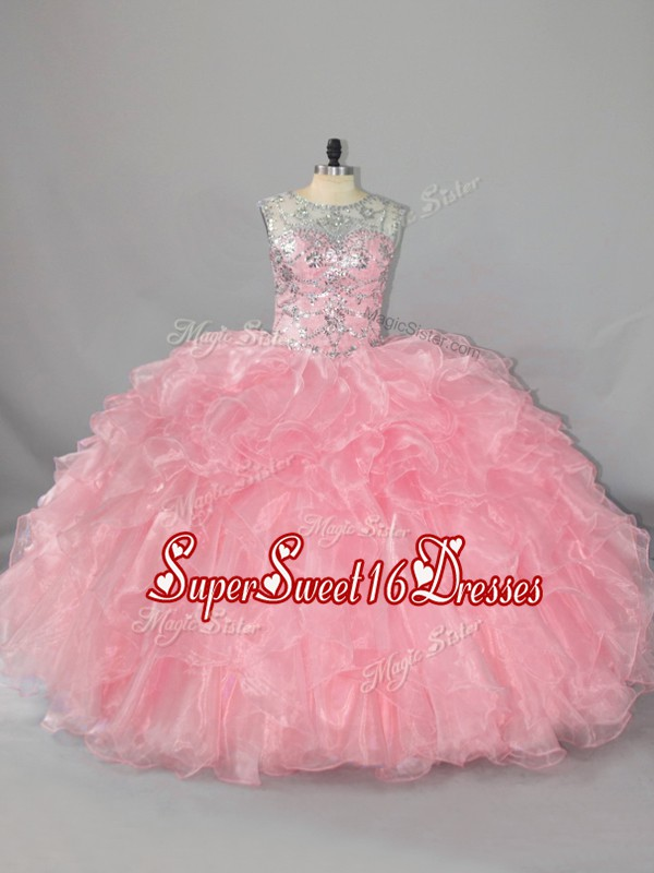 Exquisite Organza Scoop Sleeveless Lace Up Beading and Ruffles Quinceanera Dress in Pink