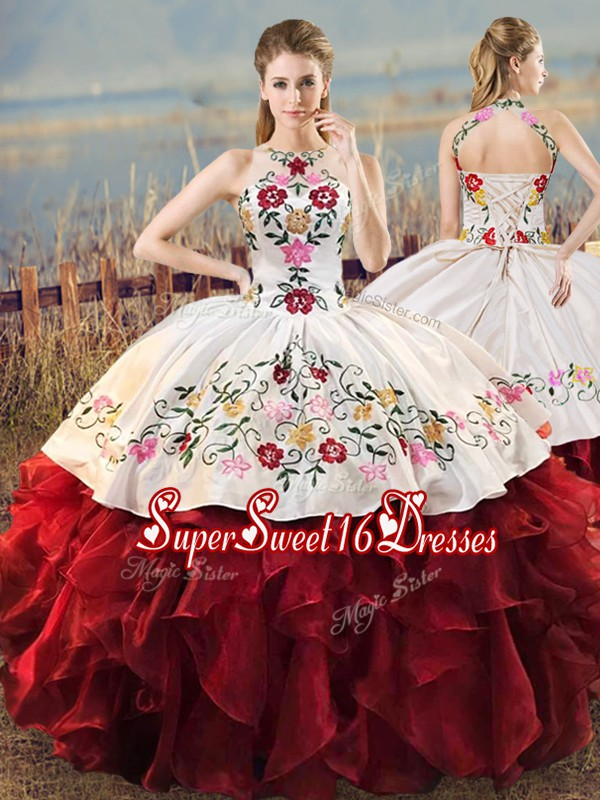 Captivating Ball Gowns 15th Birthday Dress White And Red Halter Top Organza Sleeveless Floor Length Lace Up