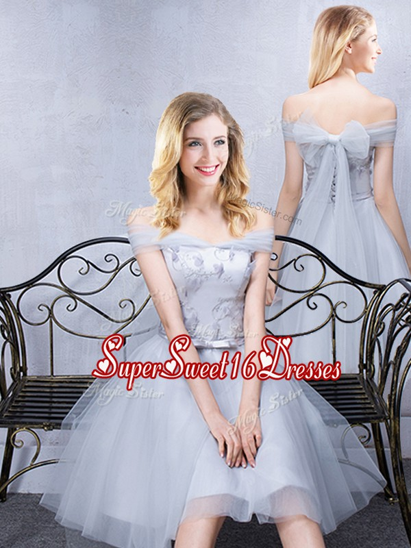 Fashion Short Sleeves Grey Off The Shoulder Lace Up Lace and Appliques and Belt Damas Dress Sleeveless