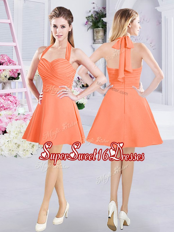 Enchanting Halter Top Mini Length Orange Court Dresses for Sweet 16 Chiffon Sleeveless Ruching