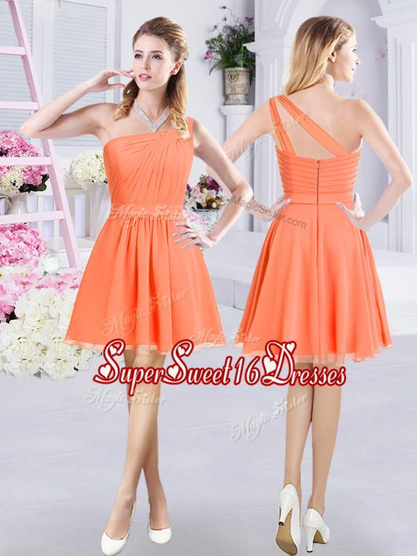 Unique One Shoulder Mini Length Zipper Quinceanera Court Dresses Orange for Prom and Party and Wedding Party with Ruching