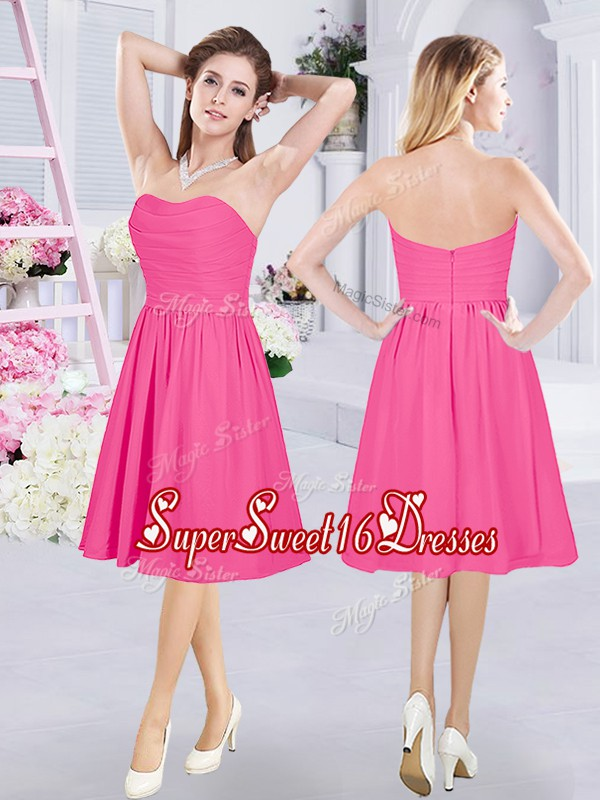 Fashionable Hot Pink Vestidos de Damas Prom and Party and Wedding Party and For with Ruching Sweetheart Sleeveless Zipper