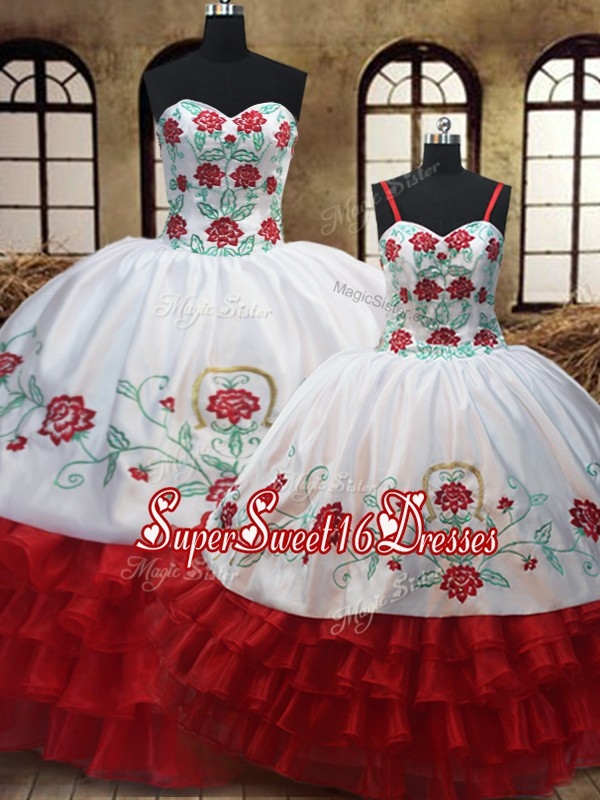 Sexy Embroidery Ruffled Layers Floor Length Ball Gowns Sleeveless White And Red 15 Quinceanera Dress Lace Up