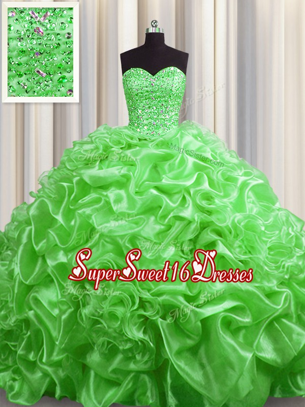 Sweet Sweet 16 Quinceanera Dress Military Ball and Sweet 16 and Quinceanera and For with Beading and Pick Ups Sweetheart Sleeveless Court Train Lace Up
