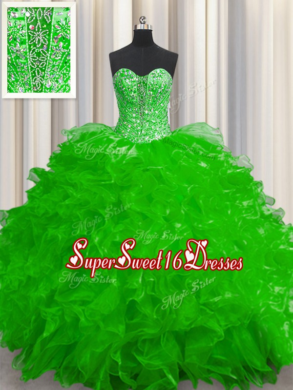 See Through Lace Up 15 Quinceanera Dress Beading and Ruffles Sleeveless Floor Length