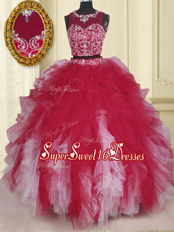 Sweet Scoop Sleeveless Zipper 15th Birthday Dress White And Red Tulle