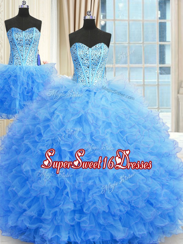 Simple Three Piece Baby Blue Tulle Lace Up Strapless Sleeveless Floor Length Sweet 16 Dresses Beading and Ruffles