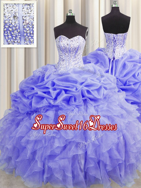 Custom Designed Pick Ups Visible Boning Ball Gowns Quince Ball Gowns Lavender Sweetheart Organza Sleeveless Floor Length Lace Up