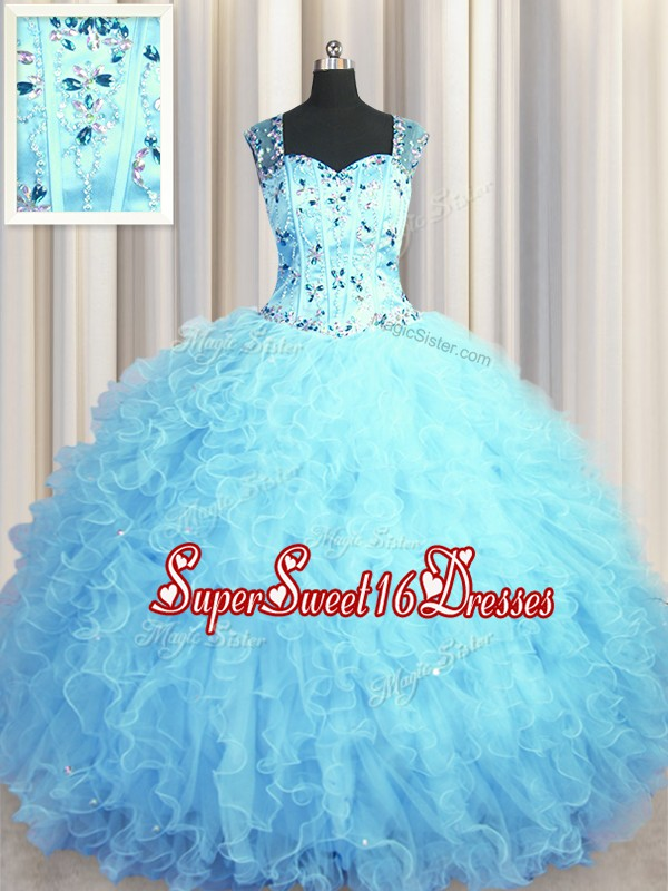 Fitting See Through Zipper Up Baby Blue Ball Gowns Tulle Square Sleeveless Beading and Ruffles Floor Length Zipper Vestidos de Quinceanera