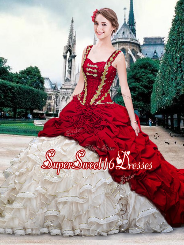 Pick Ups Brush Train Ball Gowns Sweet 16 Dresses White And Red Straps Organza and Taffeta Sleeveless With Train Lace Up