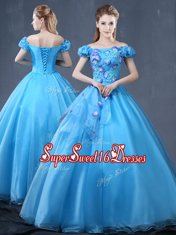 Off the Shoulder Baby Blue Ball Gowns Appliques Vestidos de Quinceanera Lace Up Organza Short Sleeves Floor Length