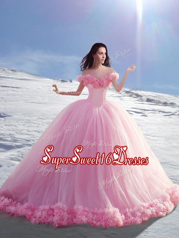 High Class Off The Shoulder Cap Sleeves Tulle Sweet 16 Quinceanera Dress Hand Made Flower Court Train Lace Up